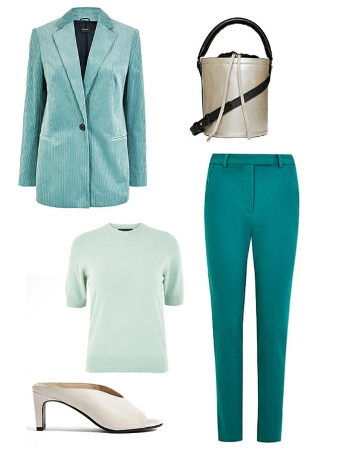 cómo combinar el color turquesa en la ropa, tendencias en los colores moda mujer, ejemplos sobre como combinar colores ropa