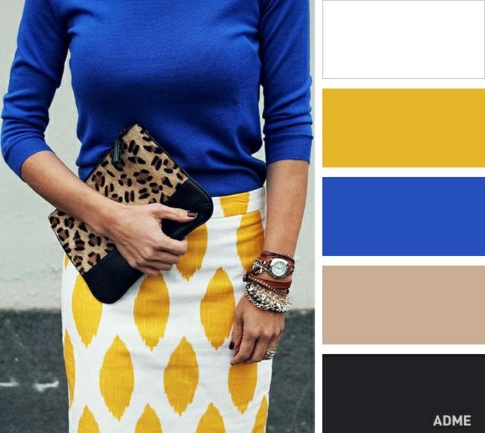 paletas de colores y tonos que combinan bien entre si, variedades del color amarillo, combinar amarillo con azul oscuro
