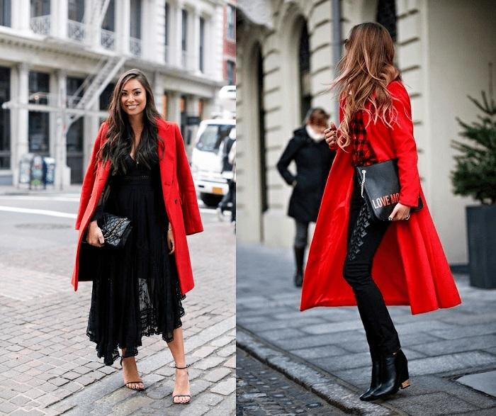 combinaciones de colores clásicos, ideas sobre cómo combinar colores, combinar rojo brillante con negro, ideas de prendas en estilo casual