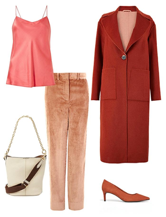 cómo combinar prendas en color caldera, tendencias en los colores moda mujer 2019, como llevar el color coral en la ropa
