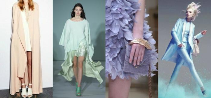 hermosas propuestas sobre como llevar los colores pasteles, chaleco en color coral, atuendo en color verde menta, vestido en lavanda