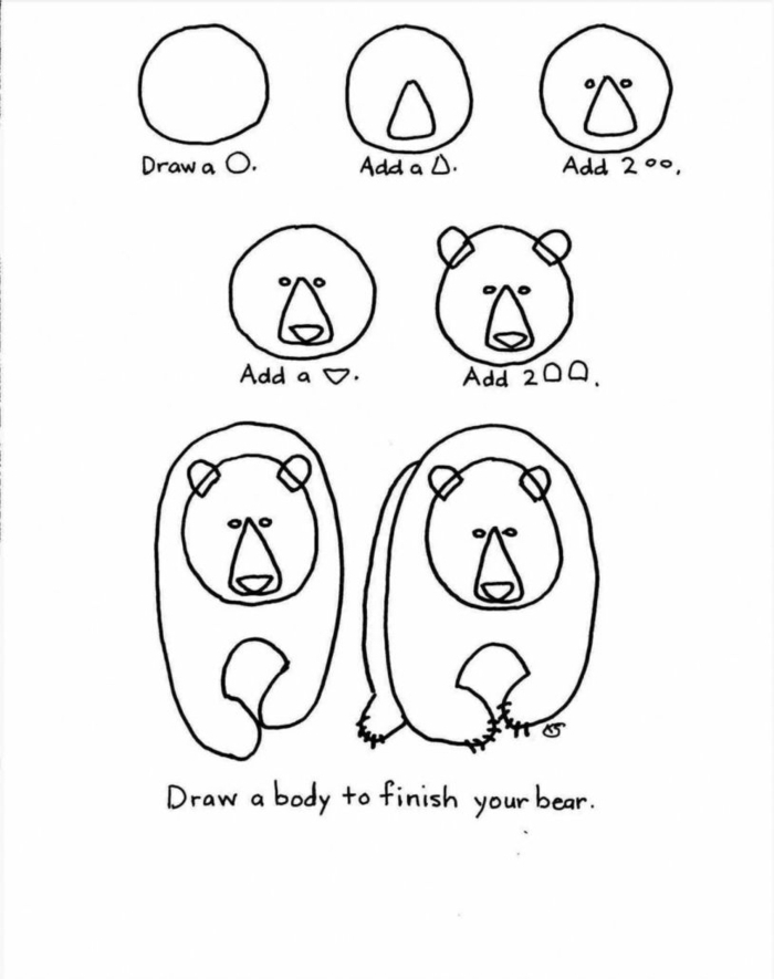 como dibujar un oso paso a paso, tutoriales de dibujos sencillos, fotos de dibujos de animales faciles