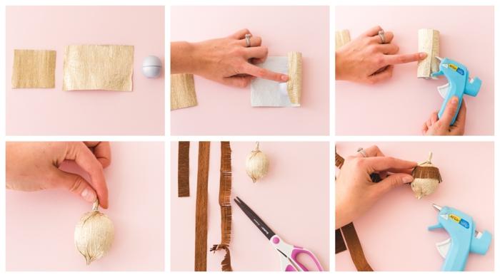 tutoriales en foto sobre manualidades con papel crepe para decorar la casa en otoño, manualidades para pequeños y adultos