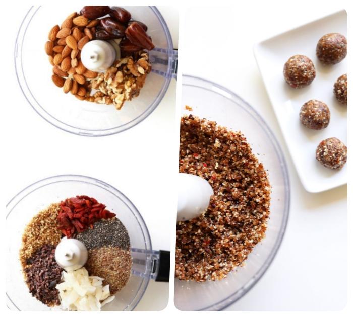 almendras crudas, dátiles, nueces, bayas de godji, semillas de chia, coco en trozos, chia cocina, propuestas de picaduras saludables