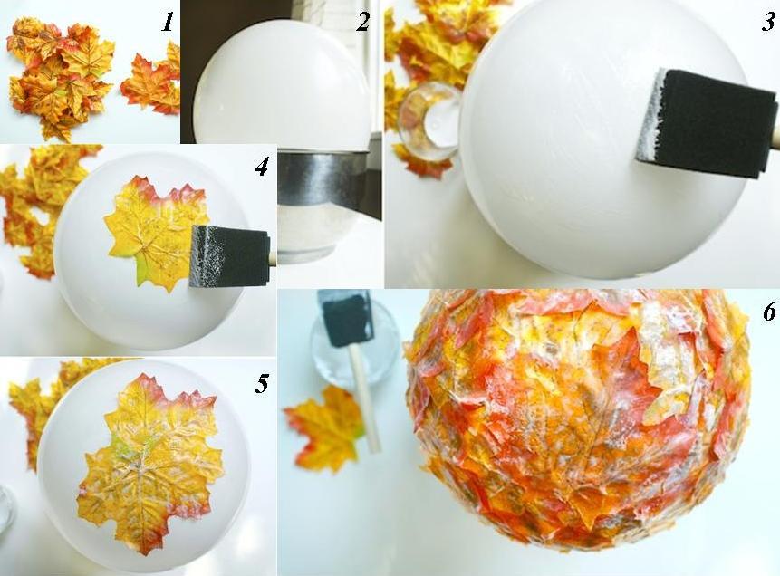 cómo hacer manualidades con hojas de otoño, recipiente DIY hecho con hojas caías y pegamento Mod Podge
