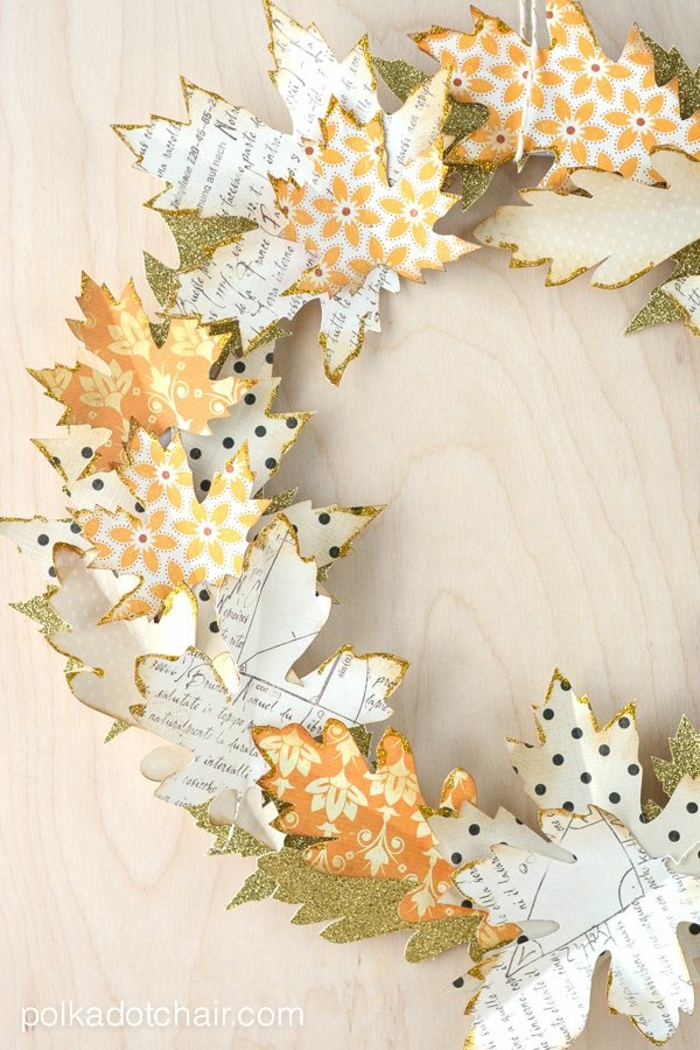 hermosa corona DIY de hojas de papel estampada, ideas de manualidades con reciclaje, fotos y tutotoriales de manualidades para niños faciles y divertidas
