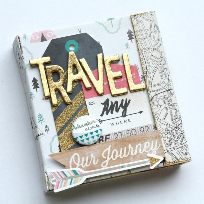ideas de regalos para mejores amiga, cuaderno DIY para contar tus viajes, regalos unicos hechos a mano