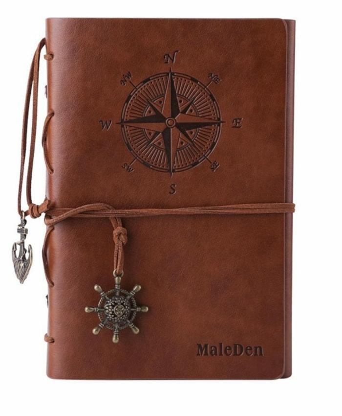cuaderno personalizado con tapa de cuero, regalos para mejores amigas, ideas de regalos temáticos para las personas que aman los viajes