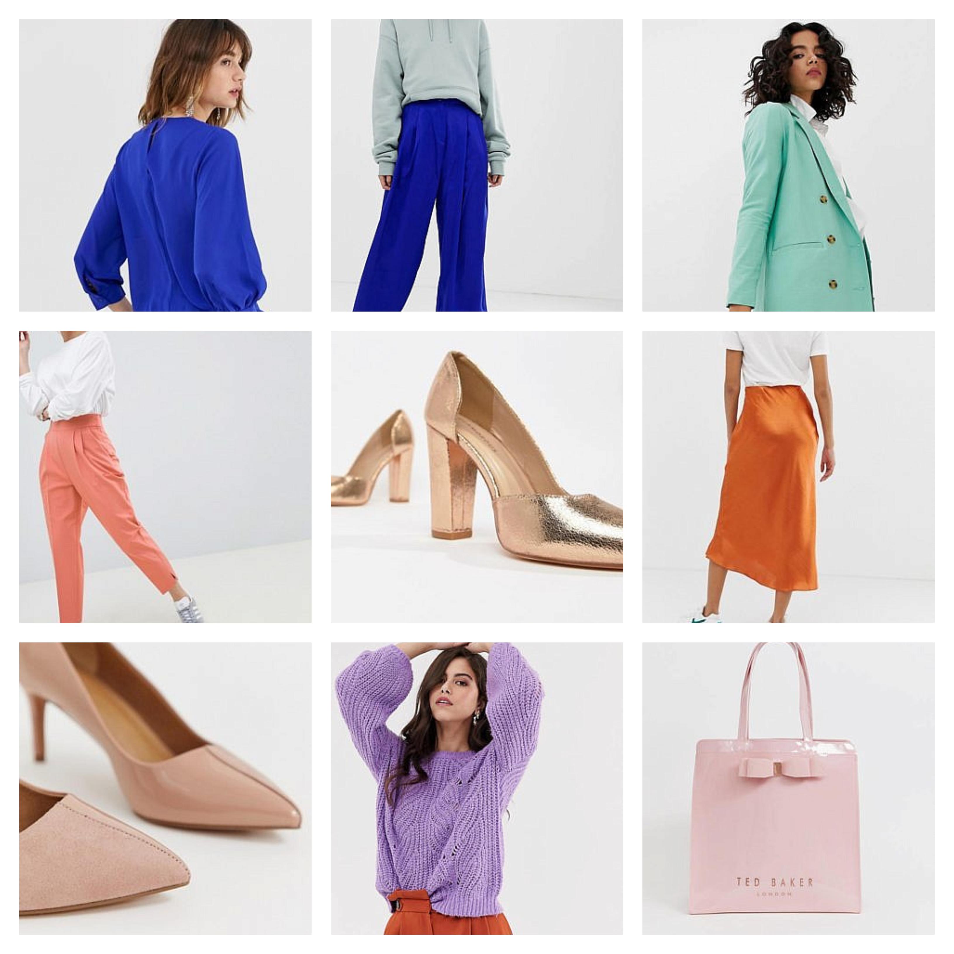 azul oscuro combinado con azul pastel, verde menta con blanco, naranja con blanco y zapatos en dorado, lila y naranja