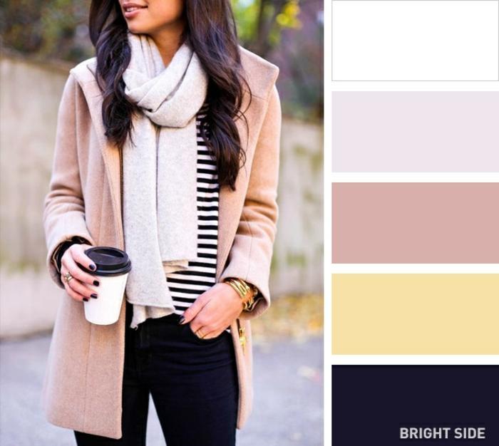tonos que combinan con los colores pastel, ideas originales para combinar ropa, vaqueros negros combinados con abrigo rosado