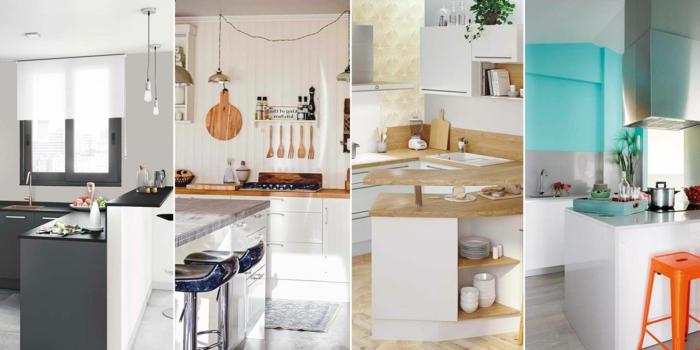 ideas sobre cocinas modernas con barras, cocinas modernas blancas con muebles en gris y azul, barras multifuncionales para la cocina