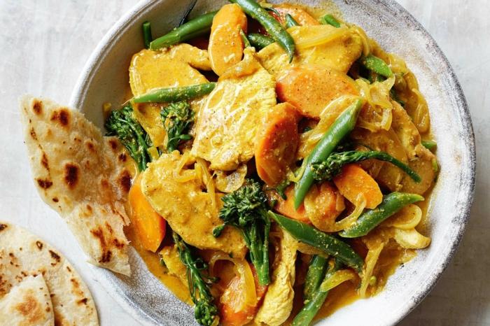 ideas de cenas saludables, como preparar pollo con vegetales y pan indio, recetas rapidas y faciles en fotos