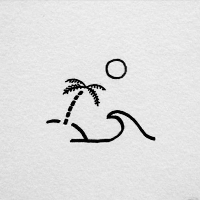 detalles pequeños, palmera, sol y olas de mar, ideas de diseños de tatuajes minimalistas simbólicos
