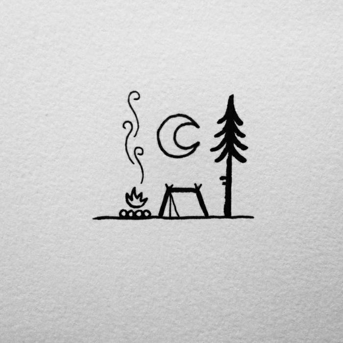 simples detalles para redibujar, árbol, luna, fuego, dibujos de paisajes naturales para los amantes de la naturaleza