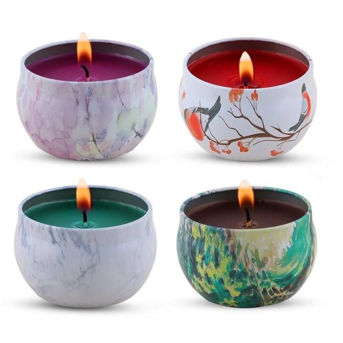 detalles decorativos para regalar, velas aromáticas bonitas, ideas de regalos de cumpleaños originales en imagenes