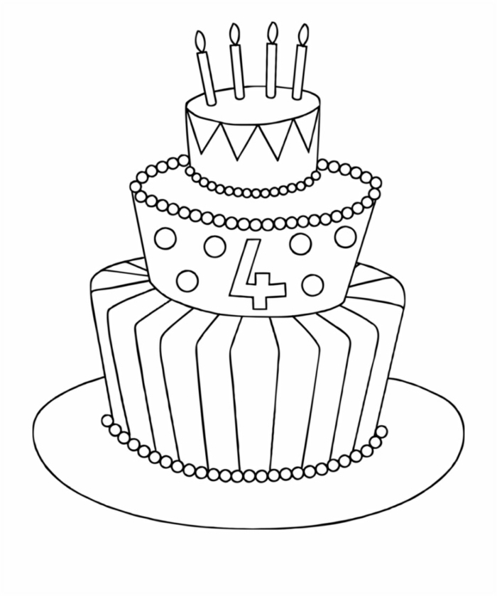 bocetos para niños, ideas de cosas simples para redibujar, tarta de cumpleños bonitas, descarga dibujos gratis para aprender como dibujar dibujos faciles