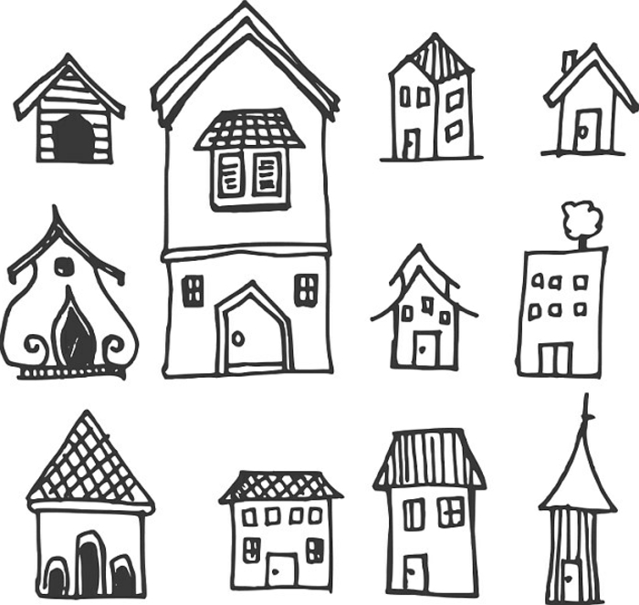 simple house drawing ideas, cool coloring pages, easy drawing motif ideas