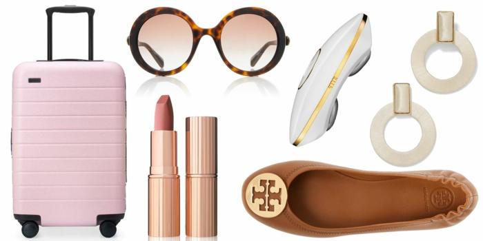 algunas ideas de regalos para mujeres, maleta en color rosado, pintalabios en color rosado, gafas, pendientes, zapatos