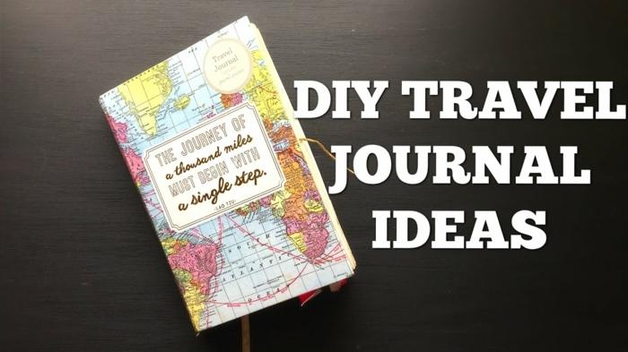 cuaderno de viajes con tapa de papel DIY, como hacer un cuaderno de viaje de materiales de reciclaje, manualidades para regalar