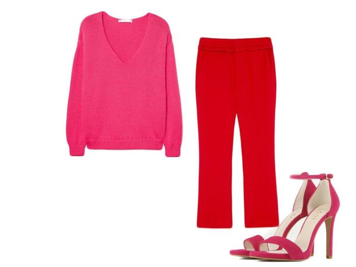 jersey color rosado vívido y pantalón color rojo brillante, combinaciones modernas de colores, colores que combinan con rojo