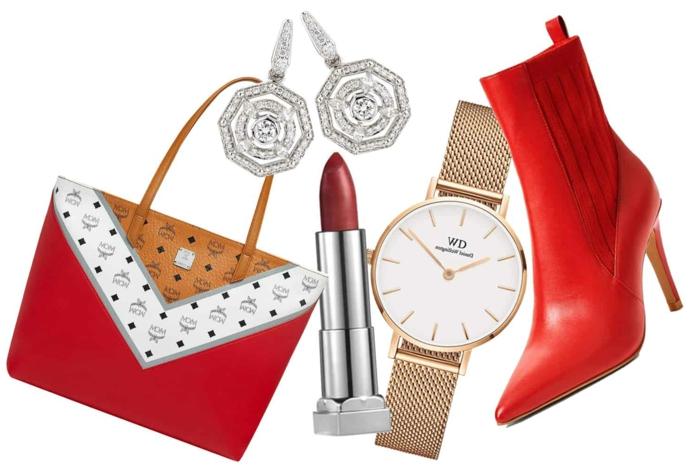 diferentes ideas sobre como sorprender a tu suegra para el dia de la madre, bolso elegante en rojo, blanco y beige, botas en tacón alto y reloj moderno