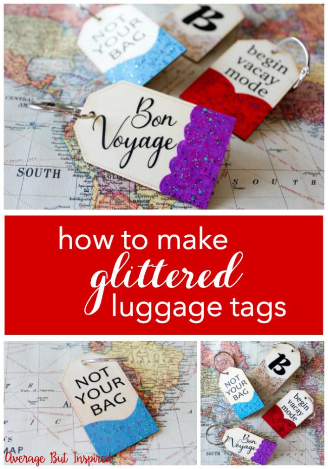 como hacer etiquetas hechas a mano decoradas con purpurina, etiquetas para maletas, regalos para mejores amigas