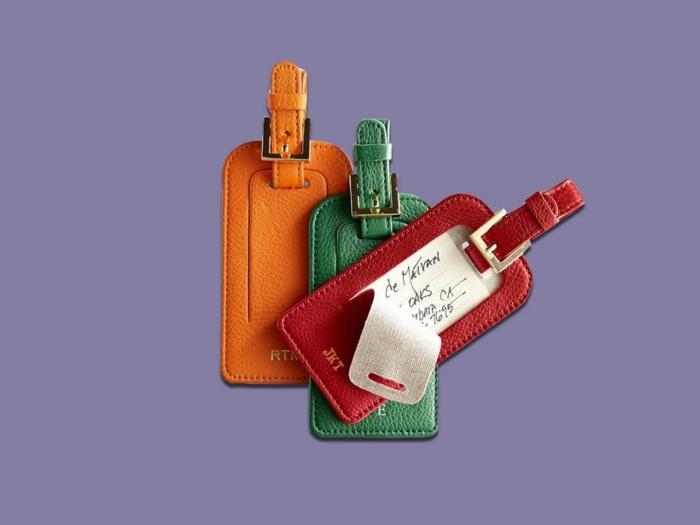 regalos de cumpleaños para hombres y mujeres, etiquetas para maletas de cuero en rojo, verde y naranja, regalos originales