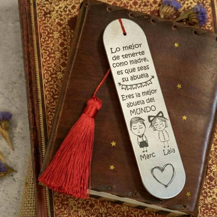 marcarpáginas personalizado para regalar a tu abuela, regalos de cumpleaños especiales, fotos de pequeños detalles para regalar