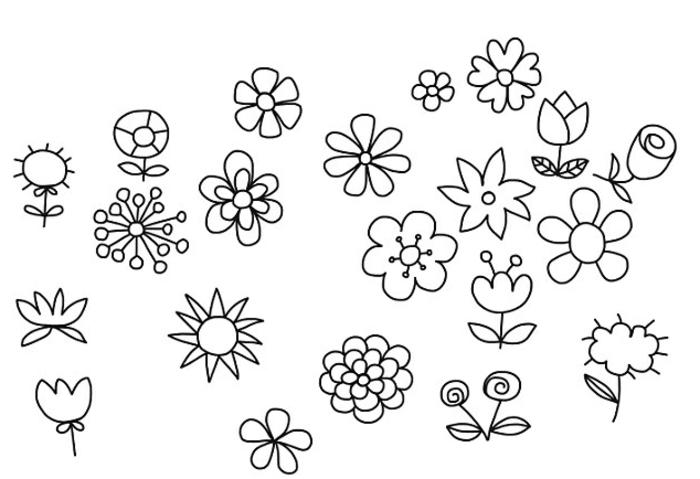 motivos florales para calcar o redibujar, ideas de cosas simples para dibujar en casa, manualidades para niños