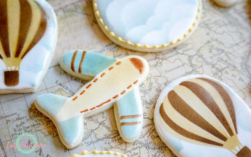 galletas avión, globo, cielo, ideas para hacer galletas decorativas, ejemplos sobre como sorprender a tu pareja en su cumple