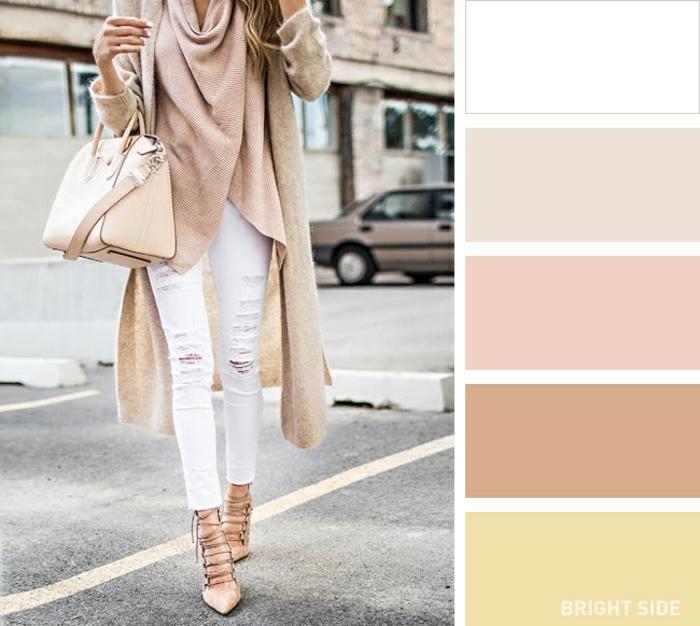 tonos que combinan con beige, outfit elegante y moderno en blanco y beige, tonos que combinan entre si, ideas de ropa en color beige