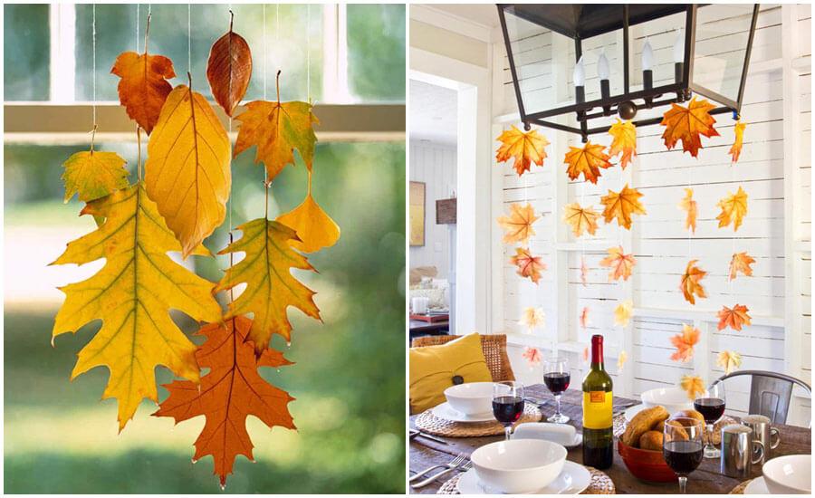 hojas de otoño caídas para decorar el salón, centro de mesa colgante DIY, manualidades con materiales de otoño