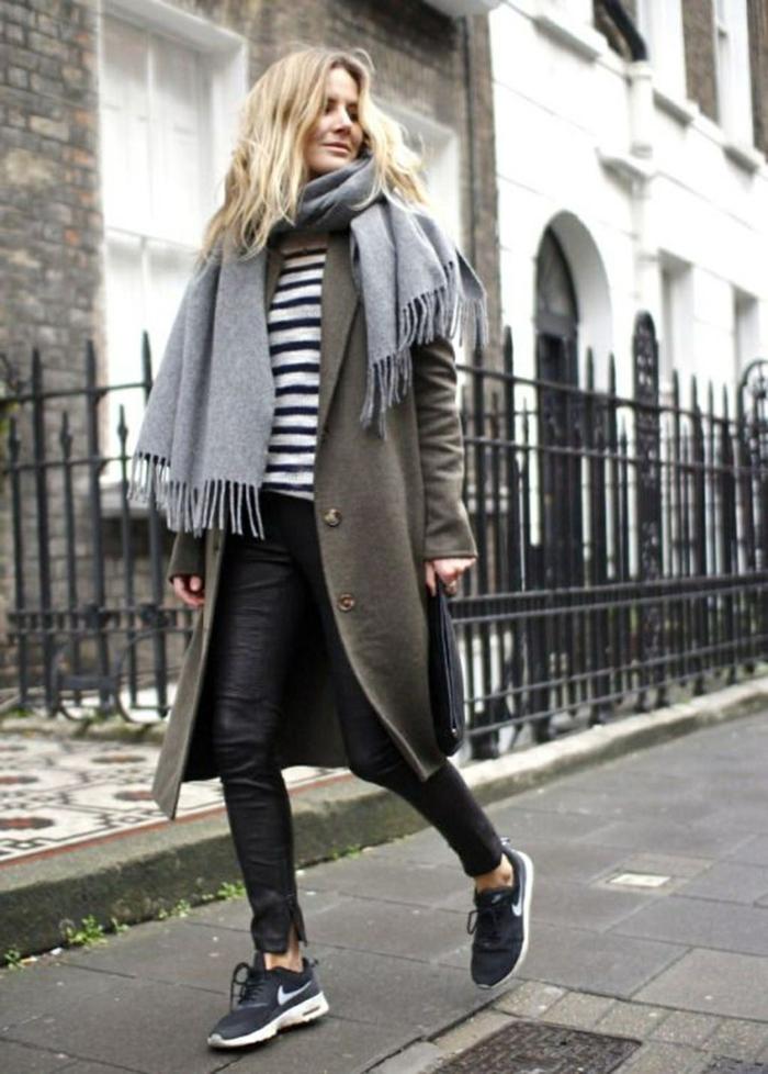 paleta de colores que combinan bien entre si, outfit moderno en blanco, negro y gris, combinaciones de colores para el otoño