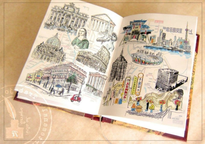 cuederno DIY bonito con dibujos de cuidades de Europa conocidos, fantásticas ideas de regalos para hermanas
