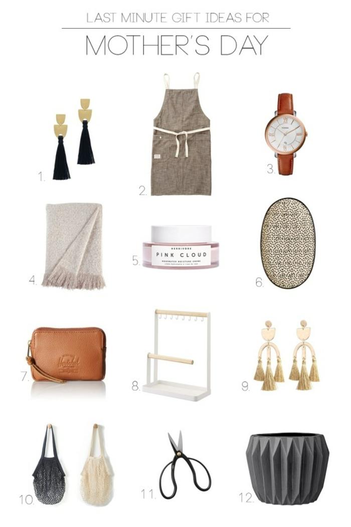 pendientes largas, reloj, bolsos, bufandas, ideas de regalos dia de la madre elegantes para madres y suegras