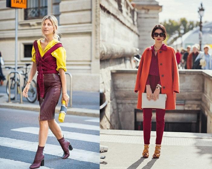 paleta de colores que combinan bien para un outfit moderno mujer, colores que combinan con naranja, amarillo, rojo y naranja