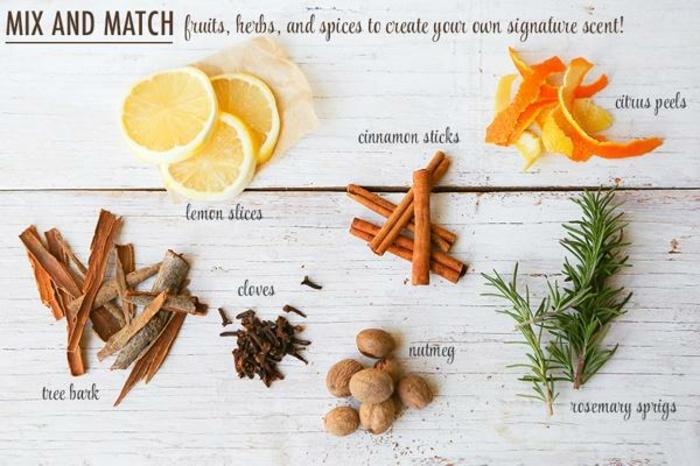 trozos de limón, cascara de árboles, clavo, canela, cáscara de limon, romero frescos, ingredientes necesarios como hacer ambientador casero