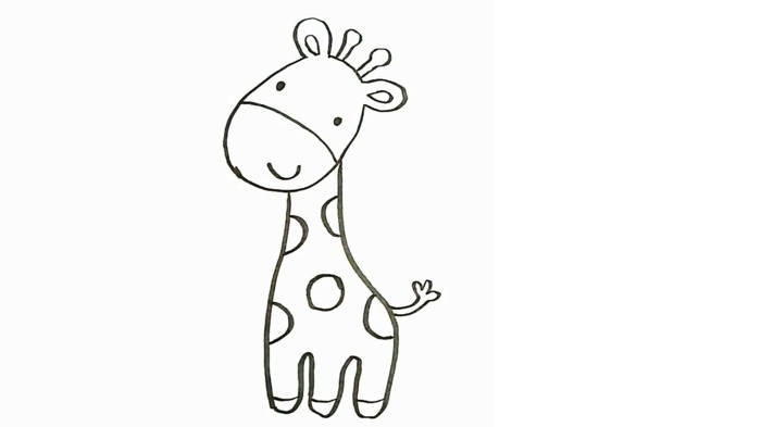 little giraffe to draw at home, cute drawings of animals, ideas of activities that encourage creativity in children