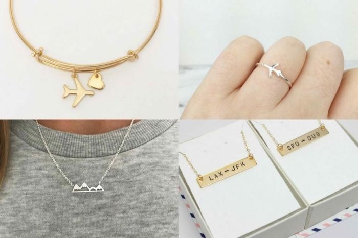 diferentes ideas de joyas para regalar a tus seres queridos que aman los viajes, regalos personalizados con aviones y números de vuelo