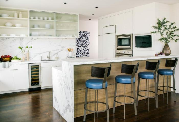 fotos de cocinas modernas multifuncionales, cocinas con peninsula, ideas sobre cocinas americanas modernas, decoracion de cocinas en blanco
