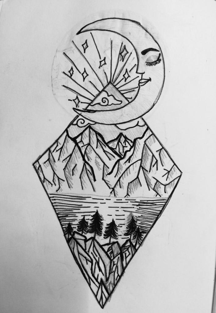 detalles para dibujar a lápiz, dibujos bonitos simbolicos, dibujos con detalles de la naturaleza, luna, montaña, diseños para tatuajes