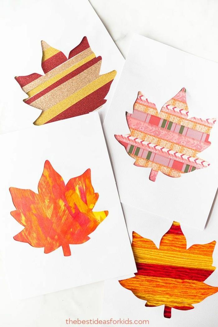tarjetas DIY para regalar en otoño, tarjetas con dibujos de hojas de otoño en colroes vibrantes, manualidades faciles y originales