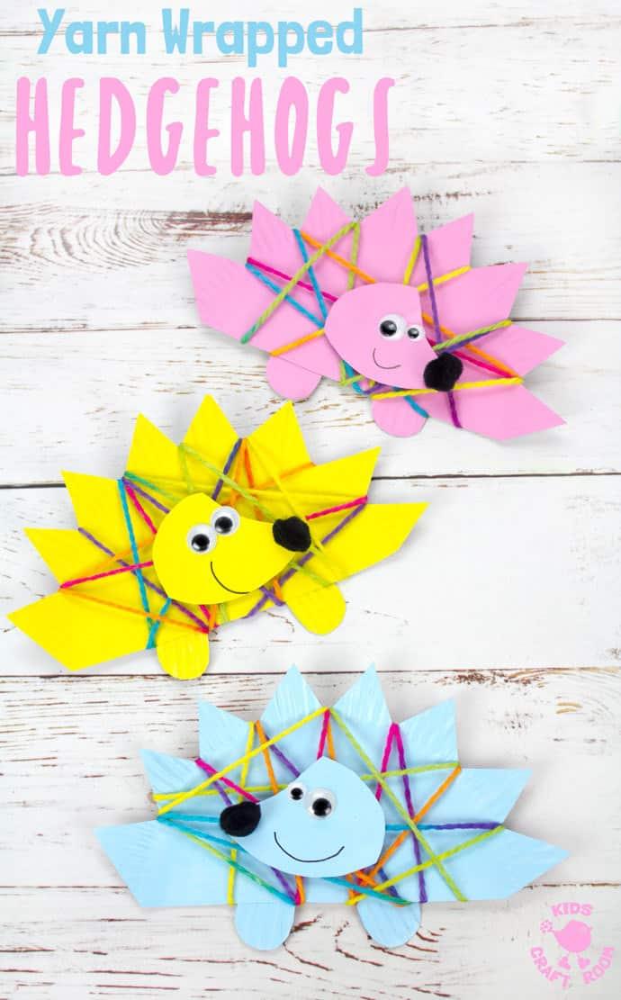 erizos coloridos hechos de cartulina, ideas de actividades de pequeocio para los más pequeños, manualidades infantiles