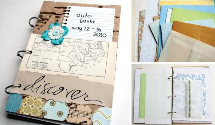 como hacer un cuaderno DIY paso a paso, cuadernos para viajeros, bonitas ideas de regalos personalizados y especiales