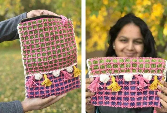bolso DIY con borlas en bonitos colores, fotos de regalos de madres y abuelas, fantásticas ideas de regalos manuales