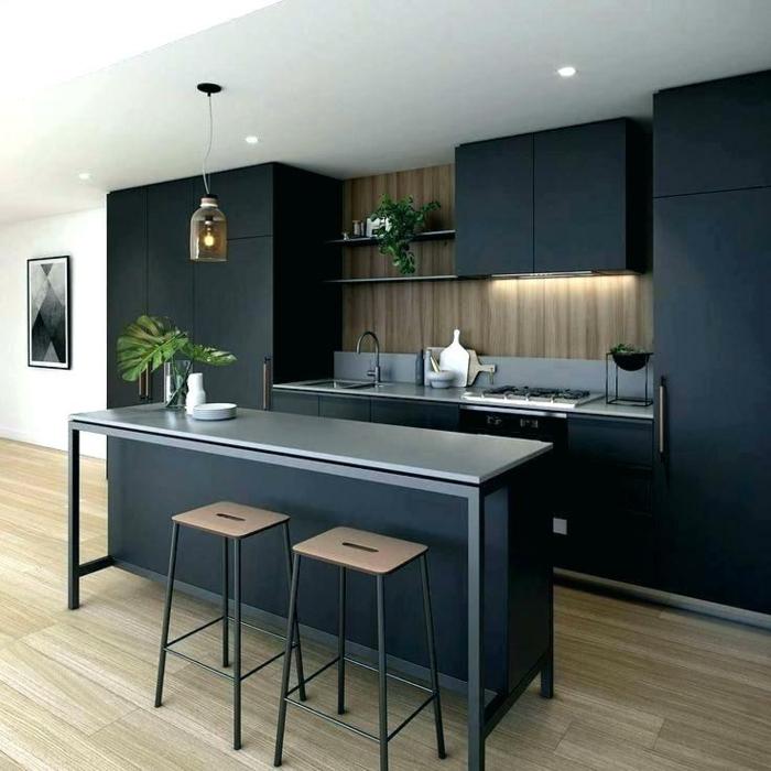 ideas sobre como decorar una cocina, cocinas americanas en colores oscuros, decoracion de cocinas modernas con barra