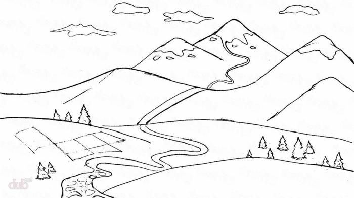 pasiajes de naturaleza para redibujar, originales ideas de dibujos con montañas, fotos de dibujos para niños y principiantes
