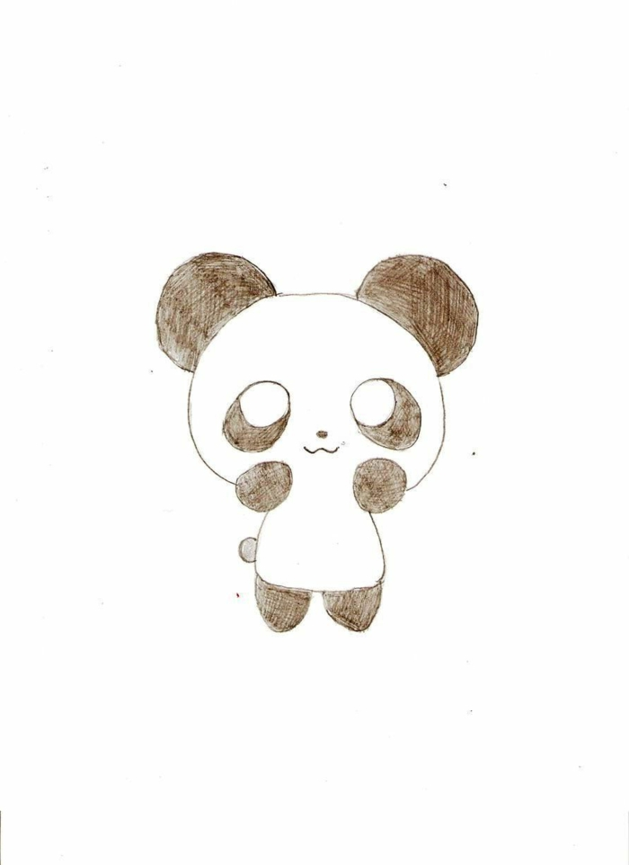 little panda drawing, little details to redraw, panda pencil drawing, simple animal drawing ideas