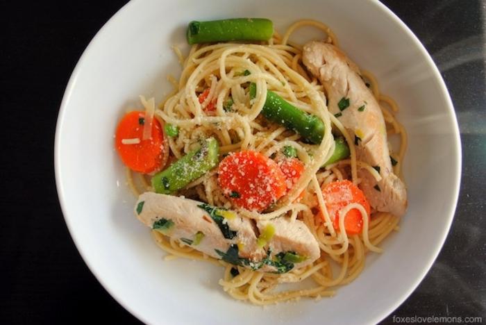 cenas ligeras y sanas para toda la familia, pasta con pollo, vegatales y queso parmesano, ideas de recetas saludables