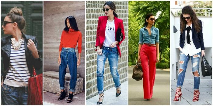 ideas de combinaciones de ropa para un look casual, outfits modernos con vaqueros y chaquetas, combinaciones de colores rojo, negro, blanco
